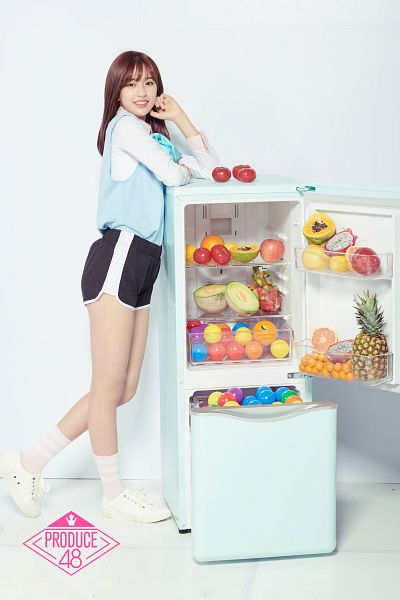 Tags: Television Show, K-Pop, Ahn Yujin, Shorts, Black Shorts, Fruits, Papaya, Orange (Fruit), Full Body, Fridge, Pineapple, Melon
