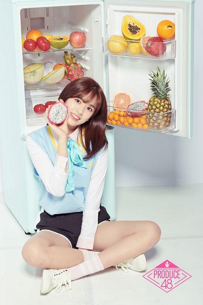 Tags: Television Show, K-Pop, Ahn Yujin, Black Shorts, Fruits, Papaya, Blue Shirt, Orange (Fruit), Fridge, Pineapple, Melon, Apple