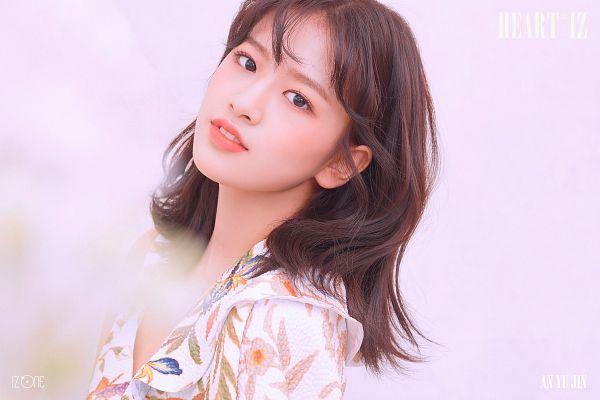 Tags: K-Pop, IZ*ONE, Ahn Yujin, Blush (Make Up), Floral Dress, Black Eyes, Text: Album Name, Pink Background, Medium Hair, Floral Print, Make Up, Text: Artist Name