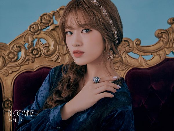 Tags: K-Pop, IZ*ONE, Ahn Yujin, Ring, Braids, Text: Artist Name, Blue Background, Text: Album Name, Blue Shirt, Serious, Single Braid