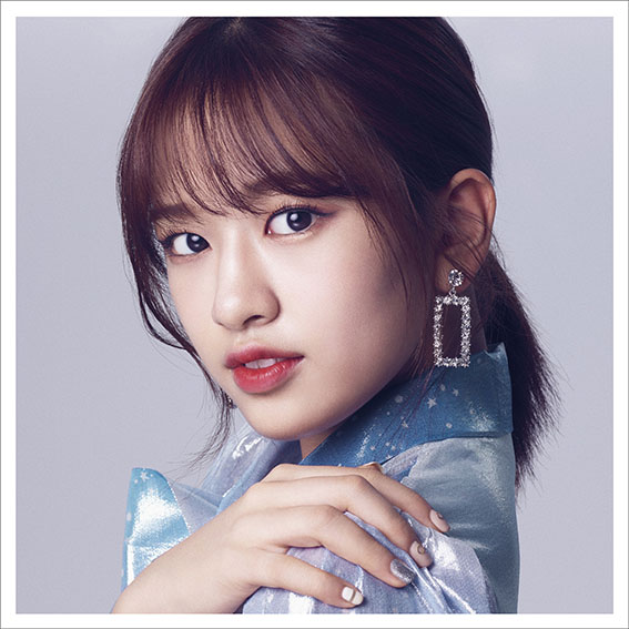 Tags: K-Pop, IZ*ONE, Ahn Yujin, Nail Polish, Hand On Shoulder, Hair Up, Red Lips, Ponytail, White Border, Make Up, Serious, Blue Shirt