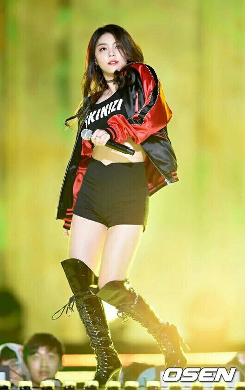 Tags: K-Pop, Ailee, Black Pants, Red Outerwear, Red Jacket, Shorts, Black Footwear, Boots