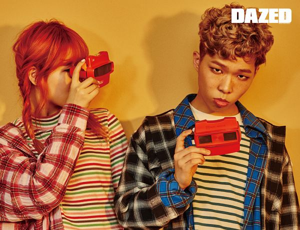Tags: YG Entertainment, K-Pop, Akdong Musician, Text: Magazine Name, Yellow Background, Family, Striped, Twin Tails, Duo, Checkered, Red Hair, Checkered Shirt