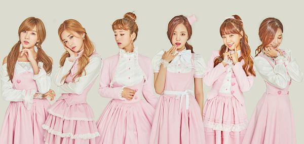 Tags: Plan A Entertainment, K-Pop, Apink, Yoon Bo-mi, Park Cho-rong, Jung Eun-ji, Kim Nam-joo, Oh Ha-young, Son Na-eun, Hair Up, Pink Dress, Gray Background