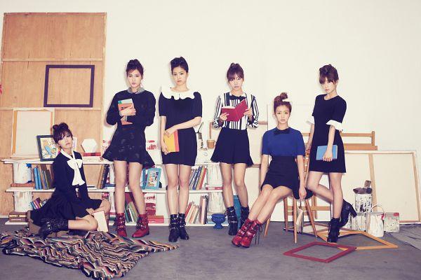 Tags: K-Pop, Apink, Son Na-eun, Yoon Bo-mi, Park Cho-rong, Jung Eun-ji, Kim Nam-joo, Oh Ha-young, Red Footwear, Chair, White Background, Full Group