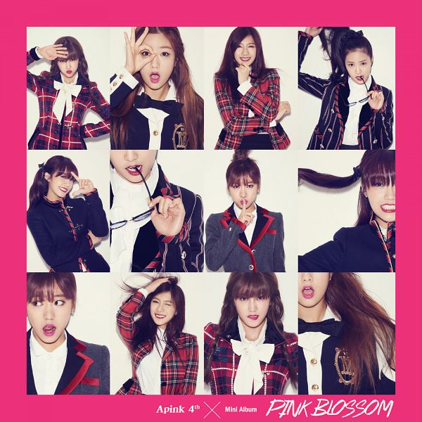 Tags: K-Pop, Apink, Park Cho-rong, Jung Eun-ji, Kim Nam-joo, Oh Ha-young, Son Na-eun, Yoon Bo-mi, White Background, Text: Artist Name, Crossed Arms, Red Outerwear