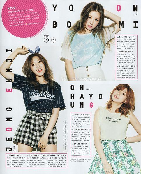 Tags: K-Pop, Apink, Jung Eun-ji, Oh Ha-young, Yoon Bo-mi, Medium Hair, Checkered Shorts, Short Sleeves, Bow, Striped, Floral Print, Japanese Text