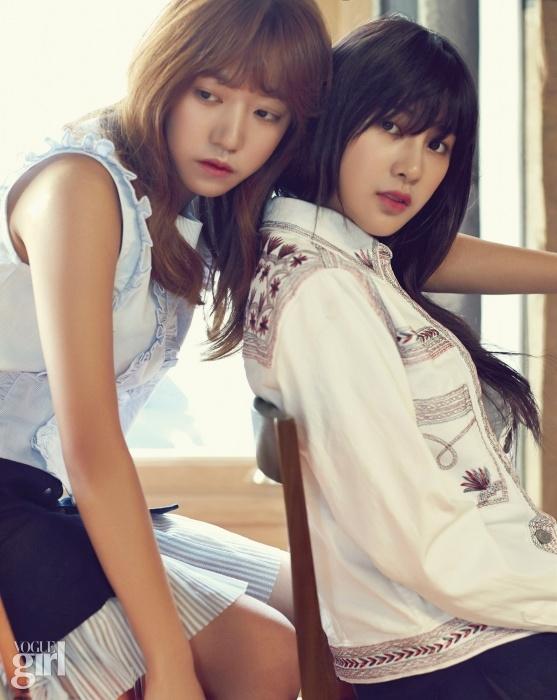 Tags: K-Pop, Apink, Kim Nam-joo, Oh Ha-young, Text: Magazine Name, Blue Skirt, Looking Away, Two Girls, Sleeveless, Duo, Skirt, Blue Shirt