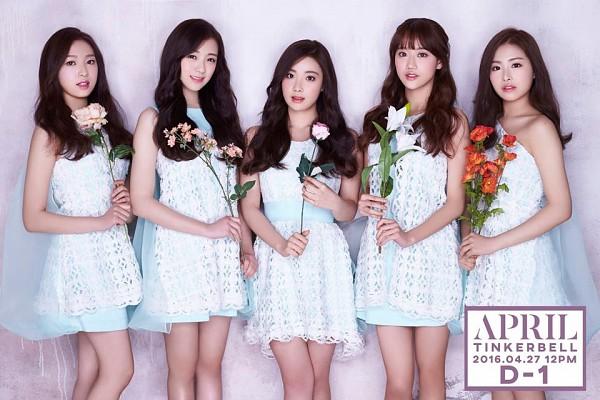 Tags: K-Pop, April, Lee Jinsol, Yang Yena, Lee Naeun, Lee Hyunjoo (Uni.T), Kim Chaewon (April), White Dress, Bare Shoulders, Orange Flower, Sleeveless, Sleeveless Dress