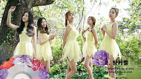 Tags: K-Pop, April, Kim Chaewon (April), Lee Jinsol, Yang Yena, Lee Naeun, Lee Hyunjoo (Uni.T), Twin Braids, Sleeveless Dress, Purple Flower, Flower, Yellow Dress