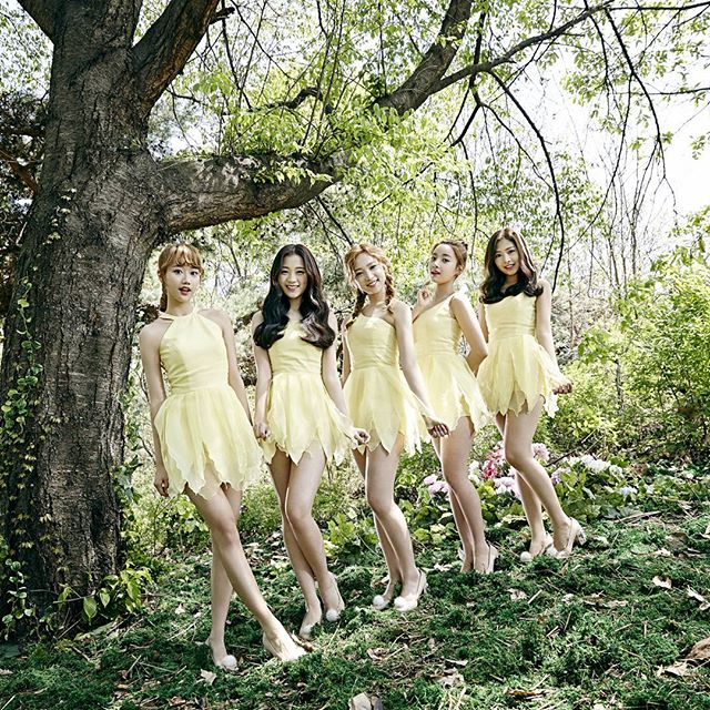 Tags: K-Pop, April, Lee Naeun, Lee Hyunjoo (Uni.T), Kim Chaewon (April), Lee Jinsol, Yang Yena, Tree, Hair Up, Bare Shoulders, Yellow Dress, Ponytail
