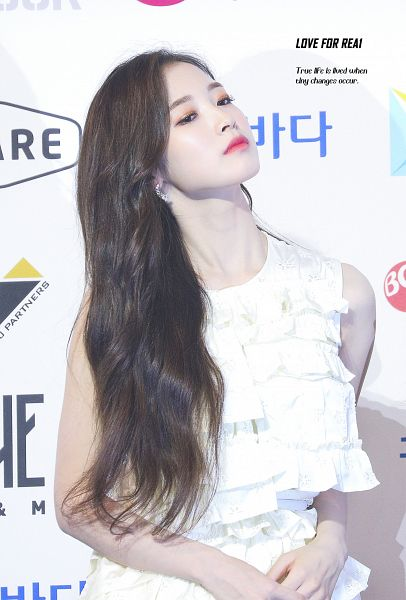 Tags: K-Pop, Oh My Girl, Arin, Bare Shoulders, White Outfit, Head Tilt, White Dress, Looking Down, Make Up, Love For Real
