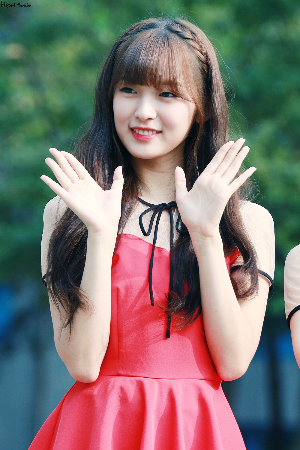 Tags: KPop, Oh My Girl, Arin, Looking Away, Dress, Red Outfit