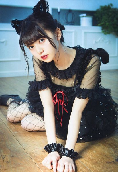 Tags: J-Pop, Nogizaka46, Asuka Saito, Black Outfit, Fishnets, Black Headwear, Black Dress, Sitting On Ground, Pantyhose, High Heels, Animal Ears, Red Lips