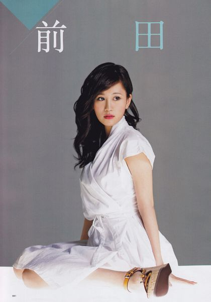 Tags: J-Pop, AKB48, Atsuko Maeda, Sitting, White Dress, White Outfit, Medium Hair, Bent Knees, Wavy Hair, Full Body, High Heels, Android/iPhone Wallpaper