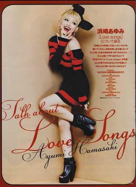 Tags: J-Pop, Ayumi Hamasaki, Nail Polish, Bare Shoulders, Black Dress, High Heeled Boots, Bare Legs, Looking Away, Black Footwear, Leg Up, Red Lips, Striped Dress