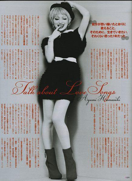 Tags: J-Pop, Ayumi Hamasaki, Monochrome, Black Outfit, Gray Hair, Belt, Japanese Text, Laughing, Bare Legs, High Heels, Hand On Hat, Black Headwear