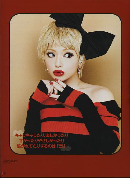 Tags: J-Pop, Ayumi Hamasaki, Black Headwear, Black Dress, Black Bow, Red Lips, Brown Background, Looking Away, Striped, Make Up, Bare Shoulders, Medium Hair