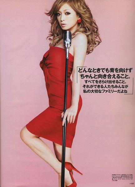 Tags: J-Pop, Ayumi Hamasaki, Shoes, Sleeveless Dress, Japanese Text, Wavy Hair, Red Footwear, Leg Up, High Heels, Standing On One Leg, Red Dress, Bare Shoulders