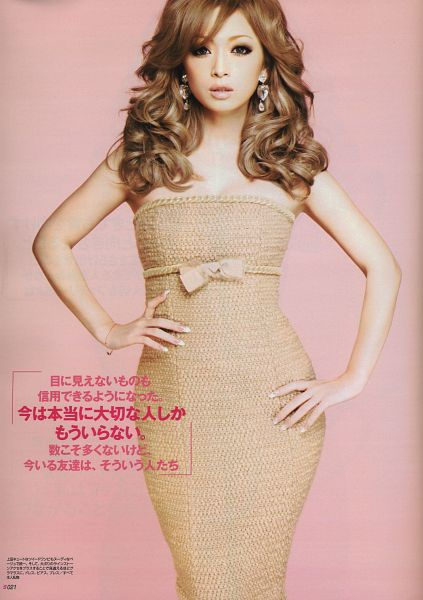 Tags: J-Pop, Ayumi Hamasaki, Hand On Hip, Bow, Japanese Text, Wavy Hair, Sleeveless Dress, Hand On Waist, Brown Bow, Bracelet, Brown Dress, Brown Outfit