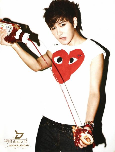 Tags: K-Pop, Block B, B-bomb, Belt, Hot Dog, Jeans, Holding Object, Bracelet, Light Background, Ketchup, White Background, Tomato