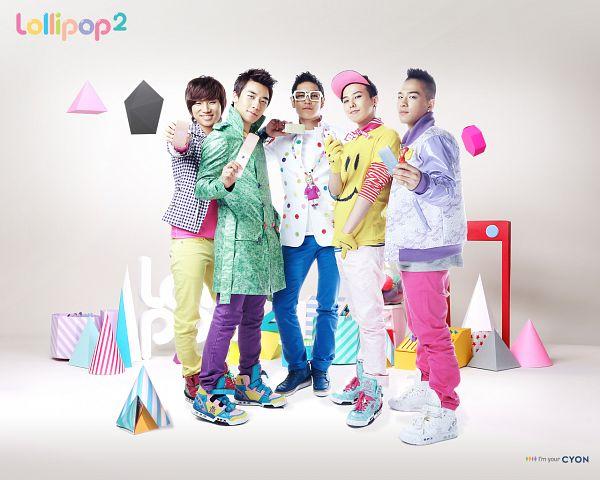 Tags: K-Pop, BIGBANG, Taeyang, Seungri, T.O.P., G-Dragon, Kang Daesung, Yellow Pants, Hat, Laughing, Purple Pants, Sneakers