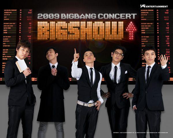 Tags: K-Pop, BIGBANG, Taeyang, T.O.P., G-Dragon, Kang Daesung, Text: Artist Name, Tie, Black Jacket, Hold Out Hand, Eyes Closed, Black Outerwear