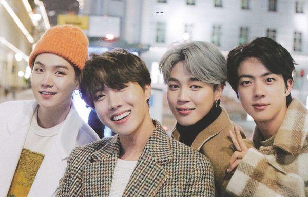Tags: K-Pop, BTS, Suga, Jin, Park Jimin, J-Hope, Orange Headwear, Quartet, White Outerwear, Grin, Four Males, Plaided Coat