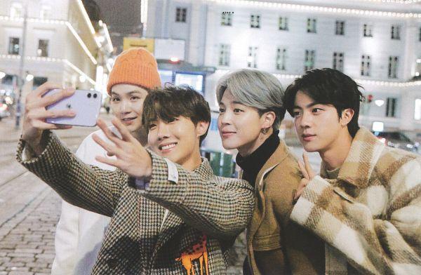 Tags: K-Pop, BTS, Park Jimin, J-Hope, Suga, Jin, Four Males, Brown Outerwear, Black Eyes, Plaided Print, V Gesture, Looking at Phone