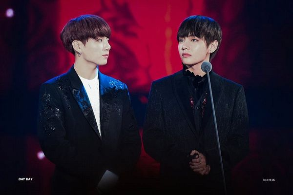 Tags: K-Pop, BTS, V (Kim Taehyung), Jungkook, Black Outerwear, Looking At Another, Clasped Hands, Duo, Ring, Looking Ahead, Looking Away, Two Males