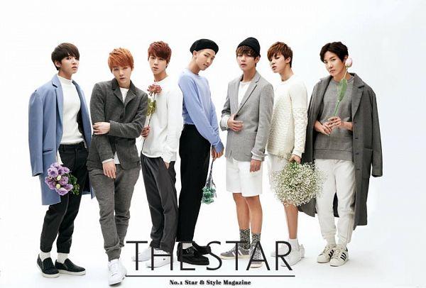 Tags: K-Pop, BTS, Rap Monster, Park Jimin, J-Hope, Suga, Jungkook, Jin, V (Kim Taehyung), Full Body, White Pants, Bouquet