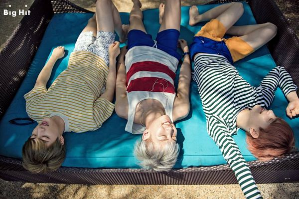 Tags: K-Pop, BTS, Suga, Jin, Rap Monster, Laying Down, Striped Shirt, Laying On Back, Eyes Closed, Trio, Blue Shorts, Shorts