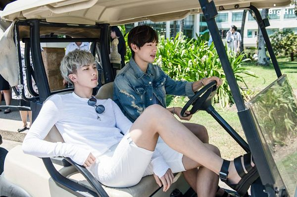 Tags: K-Pop, BTS, V (Kim Taehyung), Rap Monster, Glasses, Gray Hair, Sunglasses, Serious, Duo, Shorts, White Shorts, Glasses Off