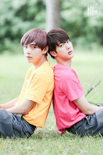 Tags: K-Pop, BTS, Jin, V (Kim Taehyung), Back To Back, Sitting On Ground, Duo, Shorts, Serious, Yellow Shirt, Grass, Two Males