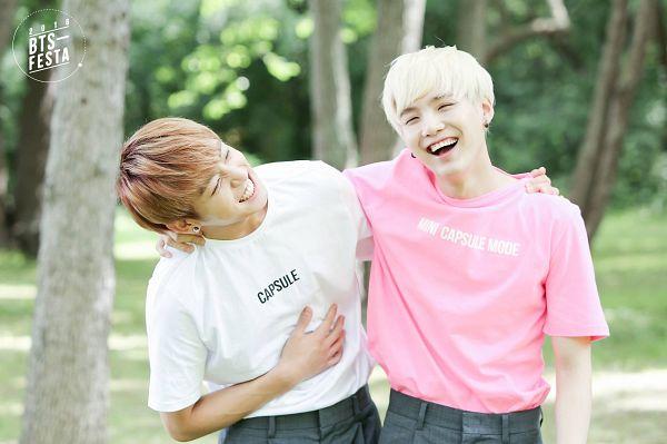 Tags: K-Pop, BTS, Suga, Jungkook, Grin, Gray Shorts, Eyes Closed, Arm Around Shoulder, Shorts, Duo, Laughing, Two Males
