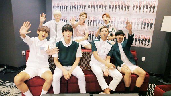 Tags: K-Pop, BTS, Jin, V (Kim Taehyung), Rap Monster, Park Jimin, J-Hope, Suga, Jungkook, Group, Green Outerwear, Wave