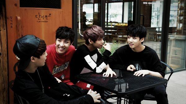 Tags: K-Pop, BTS, Jungkook, V (Kim Taehyung), Park Jimin, J-Hope, Chair, Looking At Another, Table, Red Shirt, Quartet, Black Eyes