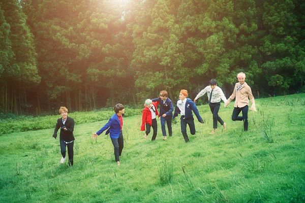 Tags: K-Pop, BTS, V (Kim Taehyung), Rap Monster, Park Jimin, J-Hope, Suga, Jungkook, Jin, Full Group, Grass, Red Jacket