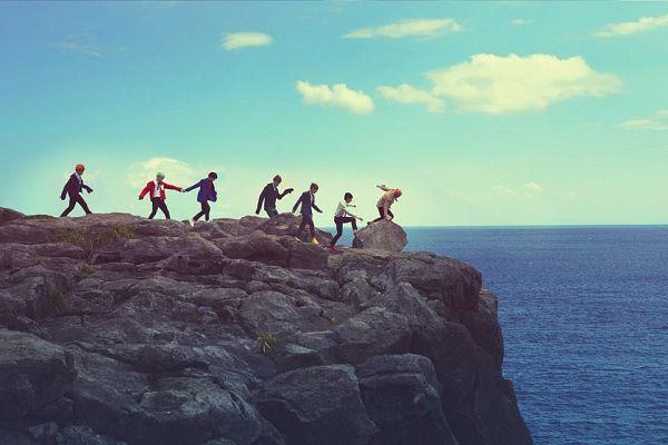 Tags: K-Pop, BTS, V (Kim Taehyung), Rap Monster, Park Jimin, J-Hope, Suga, Jungkook, Jin, Holding Hands, Outdoors, Red Hair