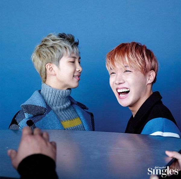 Tags: K-Pop, BTS, J-Hope, Rap Monster, Laughing, Duo, Red Hair, Two Males, Blue Background, Magazine Scan, Singles