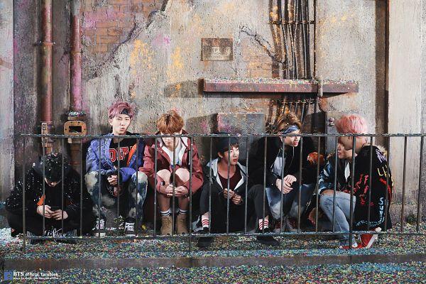 Tags: K-Pop, BTS, Suga, Jungkook, Jin, V (Kim Taehyung), Rap Monster, Park Jimin, J-Hope, Headdress, Black Shirt, Fence