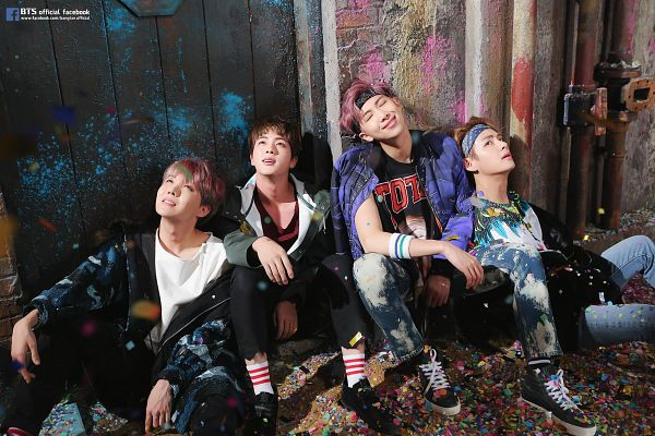 Tags: K-Pop, BTS, V (Kim Taehyung), J-Hope, Jin, Rap Monster, Sitting On Ground, Grin, Looking Up, Wristband, Headdress, Purple Jacket