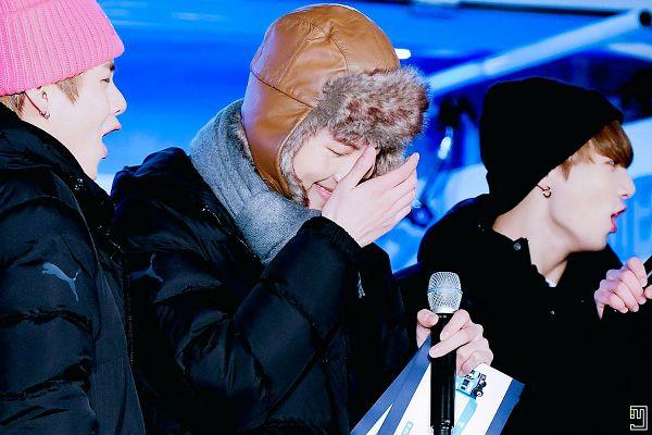 Tags: K-Pop, BTS, Jungkook, V (Kim Taehyung), Rap Monster, Trio, Black Headwear, Scarf, Fur, Coat, Three Males, Fur Trim