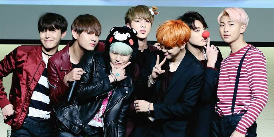 Tags: K-Pop, BTS, Jungkook, Jin, V (Kim Taehyung), Rap Monster, Park Jimin, J-Hope, Suga, Striped Shirt, Hat, Pink Hair