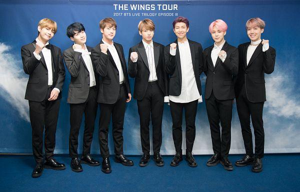 Tags: K-Pop, BTS, J-Hope, Suga, Jungkook, Jin, V (Kim Taehyung), Rap Monster, Park Jimin, Suit, Black Footwear, Black Pants