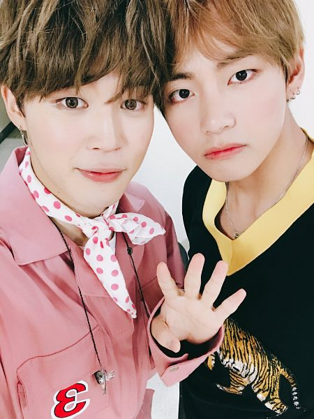 Tags: K-Pop, BTS, V (Kim Taehyung), Park Jimin, Scarf, Blunt Bangs, Duo, Contact Lenses, Pink Outfit, Holding Close, Close Up, Two Males