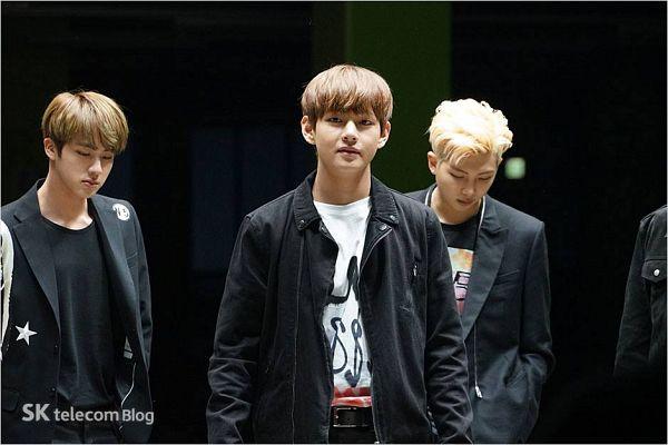Tags: K-Pop, BTS, Rap Monster, V (Kim Taehyung), Jin, Black Jacket, Trio, Black Outerwear, Looking Down, Three Males, SK Telecom