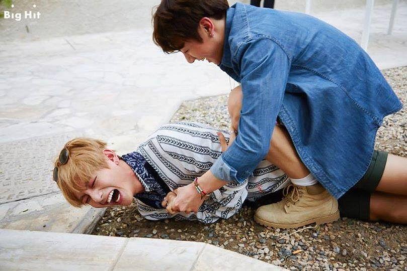 Tags: K-Pop, BTS, Jungkook, V (Kim Taehyung), Blue Shirt, Laying Down, Striped, Eyes Closed, Striped Shirt, Laying On Side, Shorts, Duo