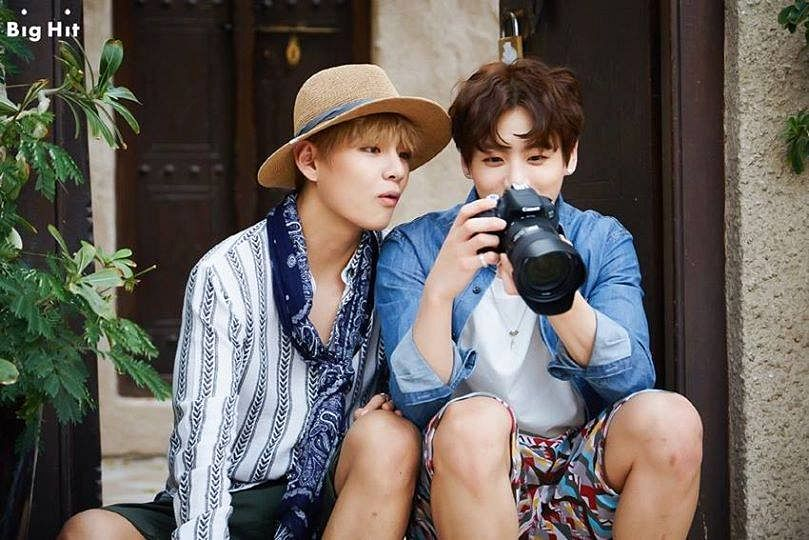 Tags: K-Pop, BTS, Jungkook, V (Kim Taehyung), Striped Shirt, Side By Side, Duo, Ring, Striped, Camera, Two Males, Blue Shirt