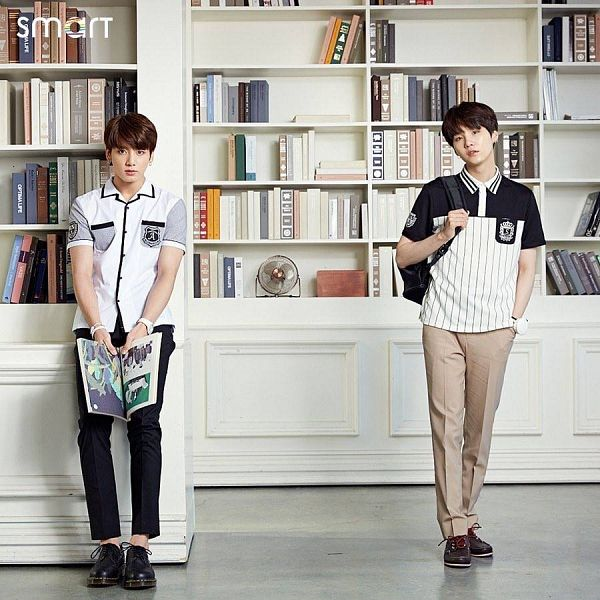 Tags: K-Pop, BTS, Jungkook, Suga, Black Pants, Brown Pants, Bag, Hand In Pocket, Book, Duo, Backpack, Two Males